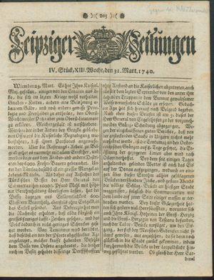 Leipziger Zeitungen vom 31.03.1740