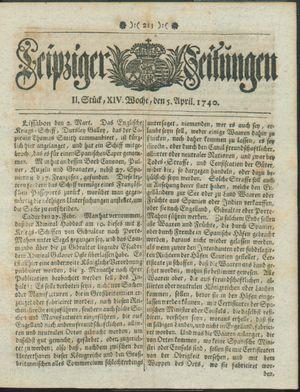 Leipziger Zeitungen vom 05.04.1740