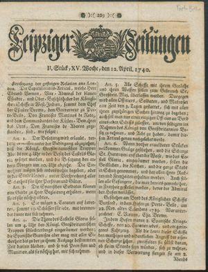 Leipziger Zeitungen vom 12.04.1740