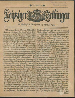 Leipziger Zeitungen on Apr 14, 1740