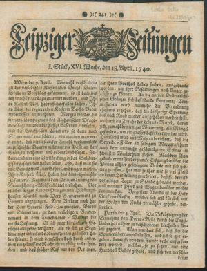 Leipziger Zeitungen vom 18.04.1740
