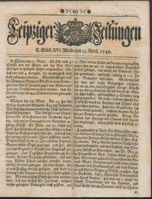 Leipziger Zeitungen vom 19.04.1740
