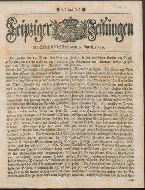 Leipziger Zeitungen vom 20.04.1740
