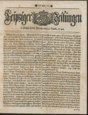 Leipziger Zeitungen vom 25.04.1740