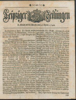 Leipziger Zeitungen vom 26.04.1740
