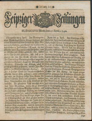 Leipziger Zeitungen vom 27.04.1740