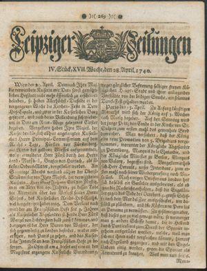 Leipziger Zeitungen vom 28.04.1740