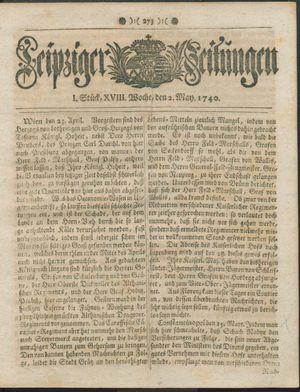 Leipziger Zeitungen vom 02.05.1740
