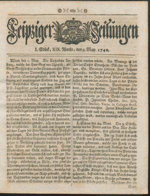 Leipziger Zeitungen vom 09.05.1740