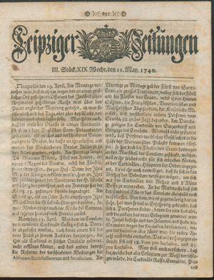 Leipziger Zeitungen vom 11.05.1740