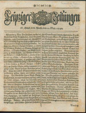 Leipziger Zeitungen vom 12.05.1740