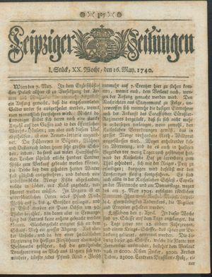 Leipziger Zeitungen vom 16.05.1740