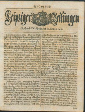 Leipziger Zeitungen vom 18.05.1740