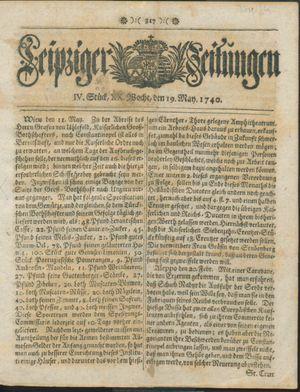 Leipziger Zeitungen vom 19.05.1740