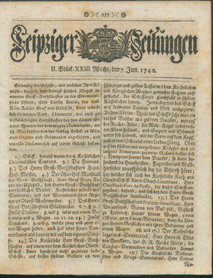 Leipziger Zeitungen vom 07.06.1740