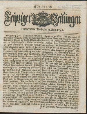 Leipziger Zeitungen vom 13.06.1740