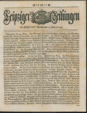 Leipziger Zeitungen vom 15.06.1740