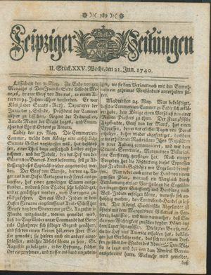 Leipziger Zeitungen vom 21.06.1740