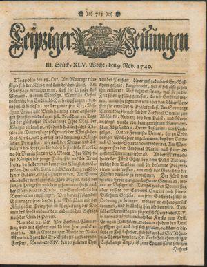 Leipziger Zeitungen vom 09.11.1740