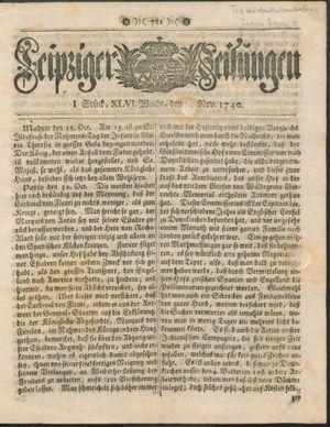 Leipziger Zeitungen vom 14.11.1740