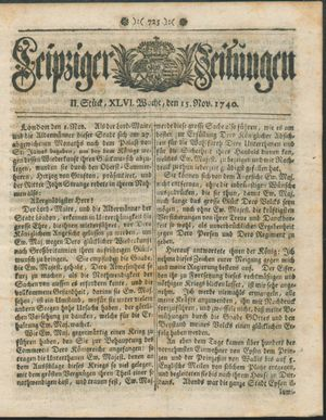 Leipziger Zeitungen vom 15.11.1740