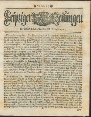 Leipziger Zeitungen vom 16.11.1740