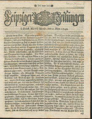 Leipziger Zeitungen vom 21.11.1740