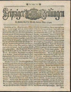 Leipziger Zeitungen vom 22.11.1740