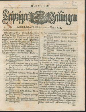 Leipziger Zeitungen vom 28.11.1740