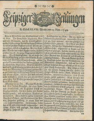 Leipziger Zeitungen vom 29.11.1740