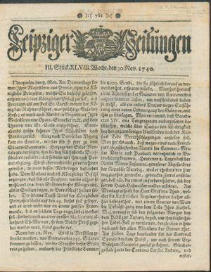 Leipziger Zeitungen vom 30.11.1740