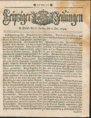 Leipziger Zeitungen vom 06.12.1740