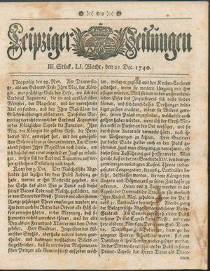 Leipziger Zeitungen vom 21.12.1740