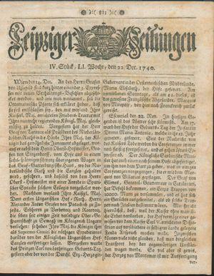 Leipziger Zeitungen vom 22.12.1740