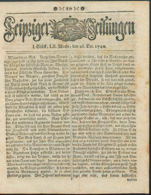 Leipziger Zeitungen vom 26.12.1740