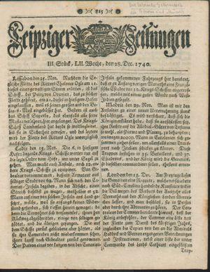 Leipziger Zeitungen vom 28.12.1740