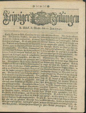 Leipziger Zeitungen vom 10.01.1741