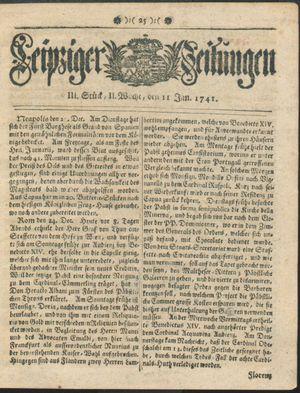 Leipziger Zeitungen vom 11.01.1741