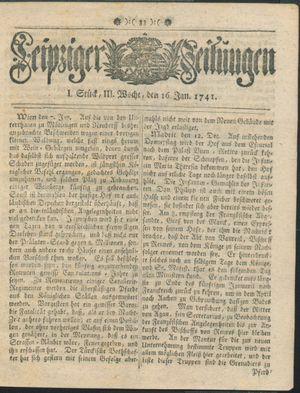 Leipziger Zeitungen vom 16.01.1741