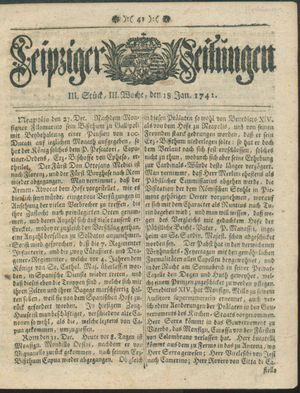 Leipziger Zeitungen vom 18.01.1741