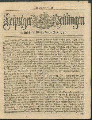 Leipziger Zeitungen vom 31.01.1741