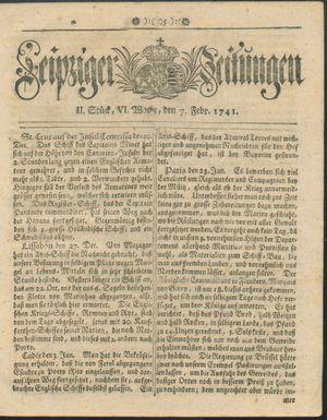 Leipziger Zeitungen vom 07.02.1741