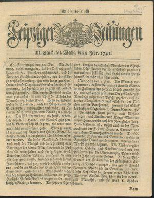 Leipziger Zeitungen vom 08.02.1741