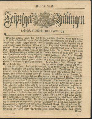 Leipziger Zeitungen vom 13.02.1741