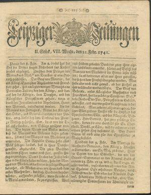 Leipziger Zeitungen vom 21.02.1741