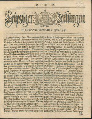 Leipziger Zeitungen vom 22.02.1741