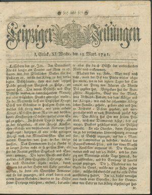 Leipziger Zeitungen vom 13.03.1741