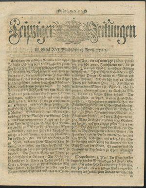 Leipziger Zeitungen vom 19.04.1741