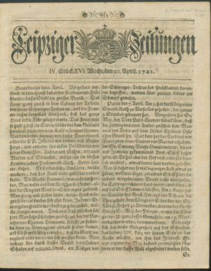 Leipziger Zeitungen on Apr 20, 1741