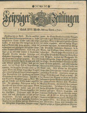 Leipziger Zeitungen vom 24.04.1741
